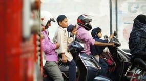 Transport mit dem Motorrad in Indien Stockfotografie