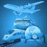 Transport mit Erde und Wecker Lizenzfreie Stockbilder