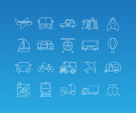 Transport mono line icon set. Transport linear pictograms. Vector set of 20 icons in trendy mono line style Royalty Free Stock Images
