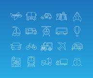 Transport mono line icon set Royalty Free Stock Images