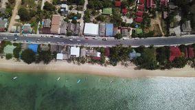 Transport Moving on Street along Beach. Aerial View. With a DJI Mavic fps29,97 4k stock footage