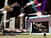 Transport museum. In a city of the future, where spaceships cross the sky, several persons approach the historic museum where they can see old transport vehicles Stock Image