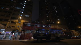 Transport on night road of Hong Kong stock video footage