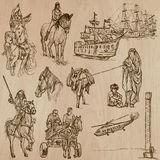Transport no.10 - Pack of  hand drawn illustrations Stock Photography