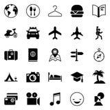 Transport och resande symboler för rengöringsduken och mobilen App Fotografering för Bildbyråer