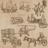 Transport pack - Hand drawn vectors, line art Stock Photos