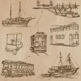 Transport pack - Hand drawn vectors, line art Royalty Free Stock Image