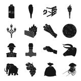 , transport, parking, dessert and other web icon in black style. Royalty Free Stock Photography