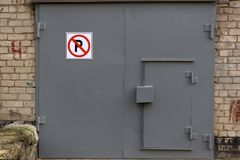 Transport Parking garage gate with the sign . royalty free stock photos