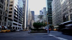 Transport and people traffic timelapse. Transport and people traffic on the New York City Skyscrapers background stock footage