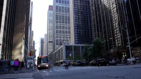 Transport and people traffic timelapse. Transport and people traffic on the New York City Skyscrapers background stock video
