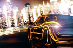 Transport and performance concept. Creative glowing digital car on blurry night city background. Transport and performance concept. 3D Rendering Royalty Free Stock Photography