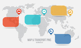 Transport pins and text box and Map vector design Royalty Free Stock Photo