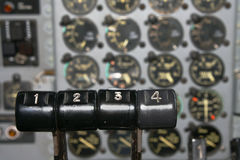 Transport plane engines controls Royalty Free Stock Photography