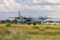 Transport plane An-12 takes off. Rostov-on-Don, Russia, June 28, 2011 stock images