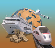 Transport with planet and train Stock Photos