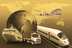 Transport with planet and world map Royalty Free Stock Image
