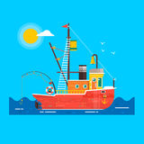 Transport plat frais de route de bateau de pêche de conception Élément décoratif de conception graphique de bateau de pêche Vecte Photographie stock libre de droits