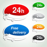 Transport pointers - car delivery, oval stickers Royalty Free Stock Photos
