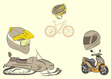 Transport and protective helmets Stock Photos