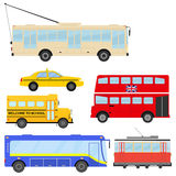 Transport. Public transport, cars, bus, school bus, tram, trolleybus Flat design vector illustration vector royalty free illustration