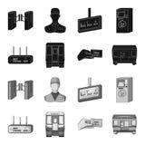 Transport, public, train et toute autre icône de Web dans le style noir et monochrome Équipement, attributs, icônes de mécanisme  illustration de vecteur