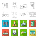 Transport, public, train and other web icon in outline,flet style.Equipment, attributes, mechanism icons in set Royalty Free Stock Photography