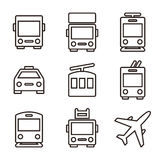 Transport publiczny ikony odizolowywać na białym tle ilustracji