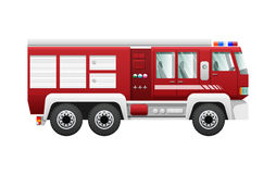 Transport.  Red Fire Truck on Six Wheels. Fire-engine with six doors. Detailed image of firefighting vehicle. Main device of firefighters in cartoon style Royalty Free Stock Photography
