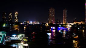 Transport in the river at night. Timelapse. Transport in the river at night, The Chao Phraya River Bangkok Thailand, High Definition 1920x1080 Video Format stock footage