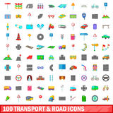 100 transport and road icons set, cartoon style. 100 transport and road icons set in cartoon style for any design vector illustration Stock Photos