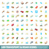 100 transport and road icons set, cartoon style. 100 transport and road icons set in cartoon style for any design vector illustration Royalty Free Stock Images