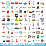 100 transport and road icons set, cartoon style Stock Photo