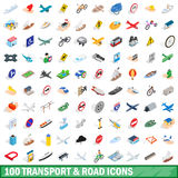 100 transport and road icons set, isometric style. 100 transport and road icons set in isometric 3d style for any design vector illustration Stock Image