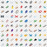 100 transport and road icons set, isometric style. 100 transport and road icons set in isometric 3d style for any design vector illustration Royalty Free Stock Photography