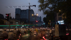 Transport on the roads of evening Hanoi, Vietnam Royalty Free Stock Photo