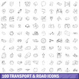 100 transport and roads icons set, outline style Stock Photos