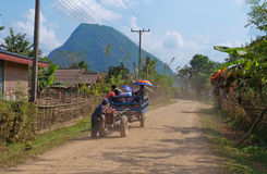 On a rural road. Vang Vieng. Laos. Royalty Free Stock Images