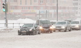 Transport schedule during snowfall in Moscow, Russia Royalty Free Stock Photos
