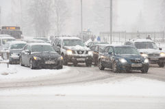 Transport schedule during snowfall in Moscow, Russia Stock Photography