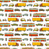 Transport seamless pattern with different vehicles Stock Photos