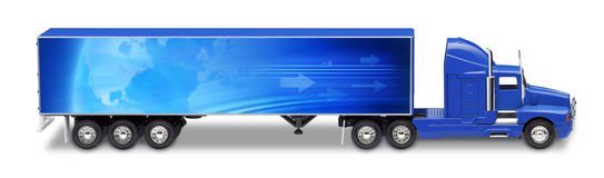 Transport Semitrailer Truck. A semitrailer truck with a global map graphic on the side of the truck Royalty Free Stock Photos