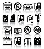 Transport service set of black icons stock photo