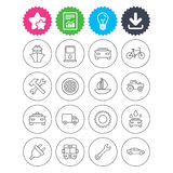 Transport, services icons. Ship, car and bus. Download, light bulb and report signs. Transport and services icons. Ship, car and public bus, taxi. Repair hammer Stock Photo