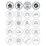 Transport, services icons. Ship, car and bus. Royalty Free Stock Images
