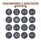 Transport and services linear icons set. Thin Stock Images