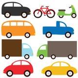 Transport set. Nine cartoon vehicles Stock Images