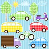 Transport set. Set of cute vector colorful transport stickers Stock Images