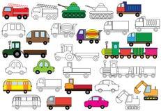 transport Set Autos Bunte grafische Abbildung Auch im corel abgehobenen Betrag Stockfotografie