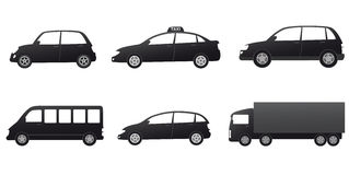 Transport set with black cars silhouette Stock Photography